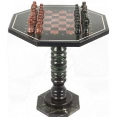 Шахматный стол Посейдон с каменными фигурами