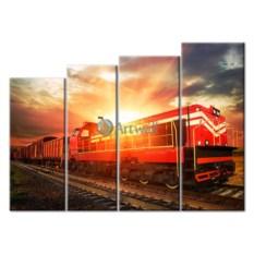 Модульная картина «Грузовой поезд» 65×47 см