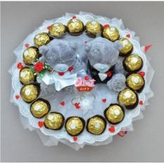 Букет из конфет и мягких игрушек Сладкая свадьба