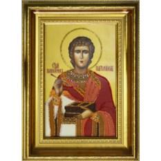 Икона с кристаллами Swarovski Святой Пантелеймон