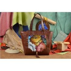 Коричневая сумка-шопер Цветы Хохломы Elole Design