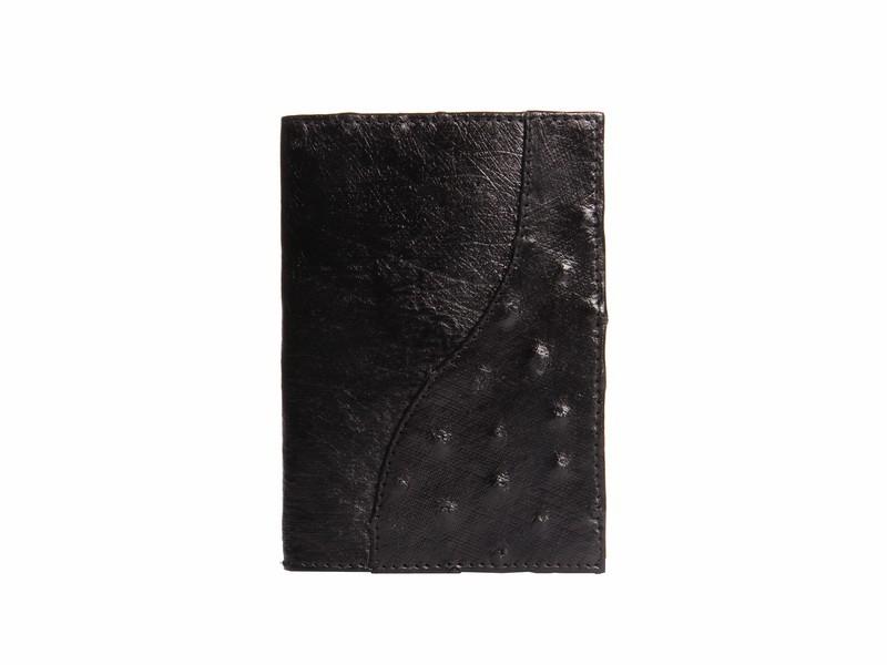 Обложка для паспорта из кожи страуса, черная