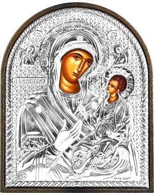 Икона Смоленская Божья Матерь Одигитрия, серебряный оклад