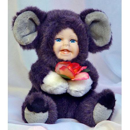 Меховая кукла «Мышонок с розочкой»