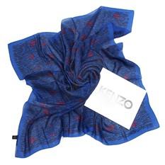 Большой синий утепленный платок Kenzo Homme
