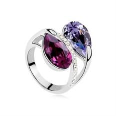 Кольцо с фиолетовыми кристаллами Сваровски «Дуэт»