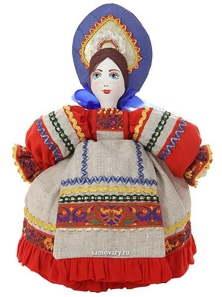Льняная кукла для улучшения заваривания чая Маня в сером