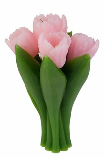 Свеча Букет тюльпанов розовая