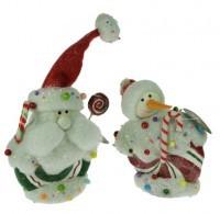Новогодняя фигурка «Дед Мороз и Снеговик», 19 см