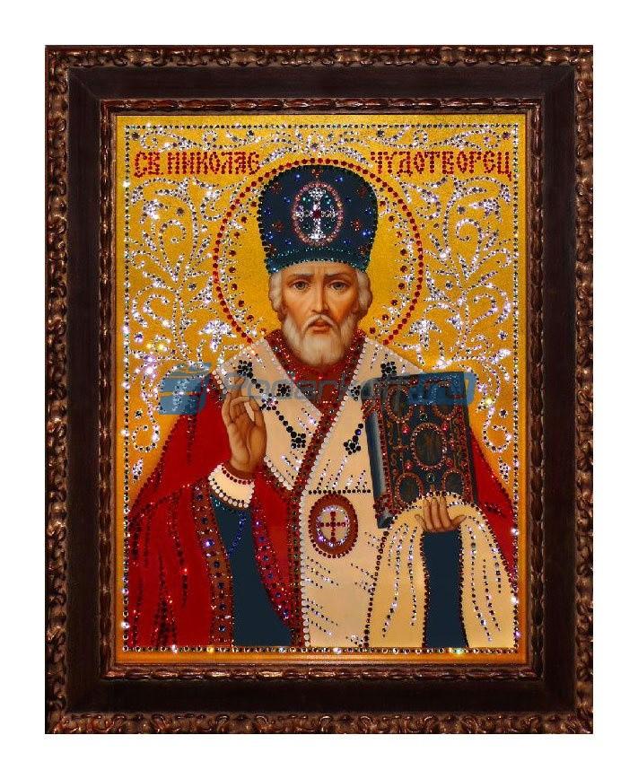 Картина с кристаллами Swarovski Святой Николай Чудотворец