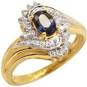 Кольцо из желтого золота с бриллиантом и сапфиром