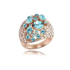 Кольцо с голубыми камнями Сваровски «Краски лета»