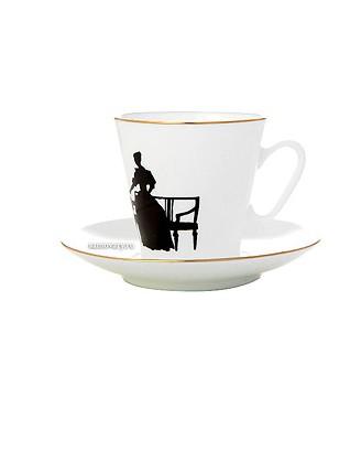 Фарфоровая кофейная пара с рисунком Вдвоем