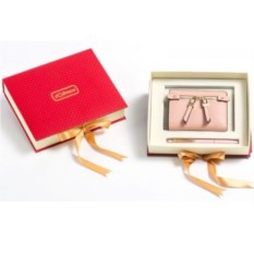 Розовый подарочный набор Ручка и портмоне из экокожи