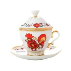 Чайная чашка с крышечкой и блюдцем, форма Подарочная-2, рисунок Сувенир, Императорский фарфоровый завод