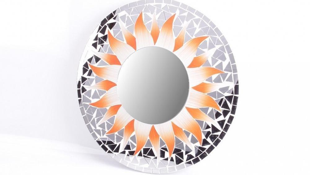 Зеркало настенное Солнце, оранжевое