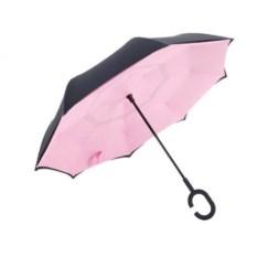 Розовый ветрозащитный зонт-наоборот Up Brella