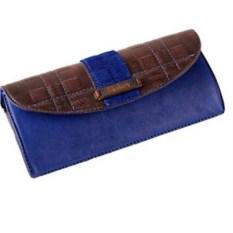 Синий футляр для очков из натуральный кожи