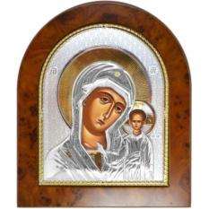 Икона Богородицы Казанская в серебряном окладе.