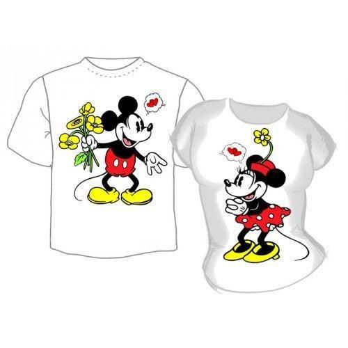 Парные футболки Микки и Мини Маус с сердечками