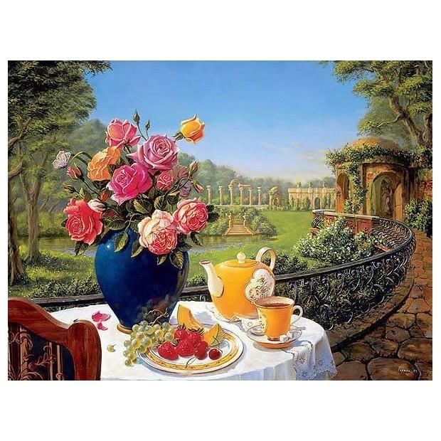 Картина-раскраска по номерам на холсте Завтрак