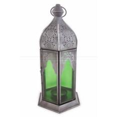 Подсвечник Фонарь со стеклом зеленого цвета