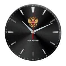Черные настенные часы с гербом «ФСБ России»