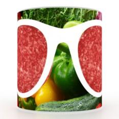Кружка с 3D печатью Овощи и очки с колбасой
