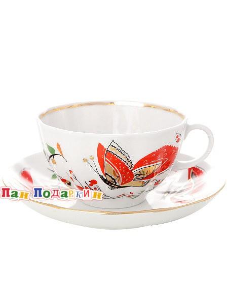 Чайный сервиз форма Тюльпан рисунок Бабочки