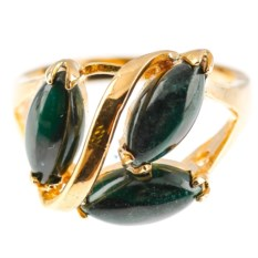 Серебряное кольцо с малахитом в позолоте Дафна