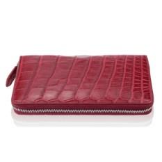 Бордовый кошелек на молнии из кожи крокодила