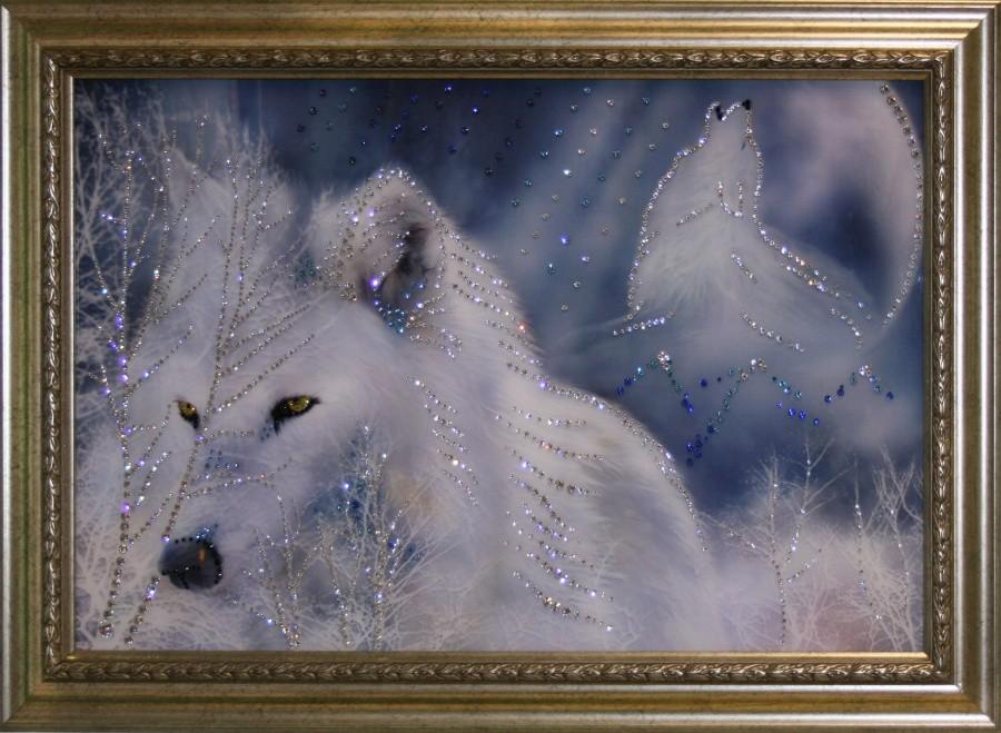 Картина с кристаллами Swarowski Белые волки