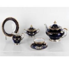 Фарфоровый чайный сервиз на 6 персон Ювел синий