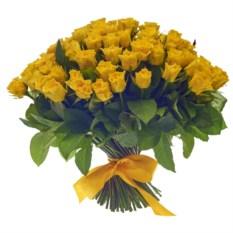 Букет из 101 желтой розы высотой 40 см