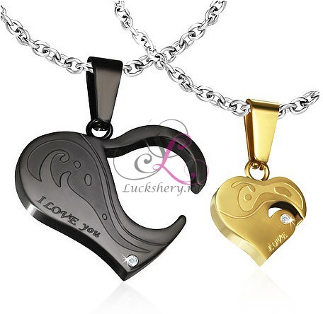 Парный кулон Сердца влюбленных