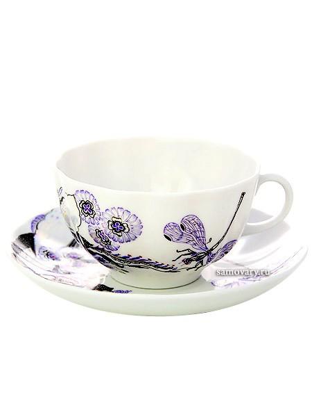 Фарфоровая чайная чашка с блюдцем Шепот стрекозы