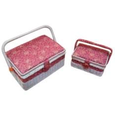 Набор из 2 бело-розовых шкатулок для рукоделия с подносом