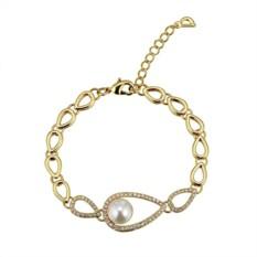 Позолоченный браслет «Невесомость» с жемчугом и кристаллами