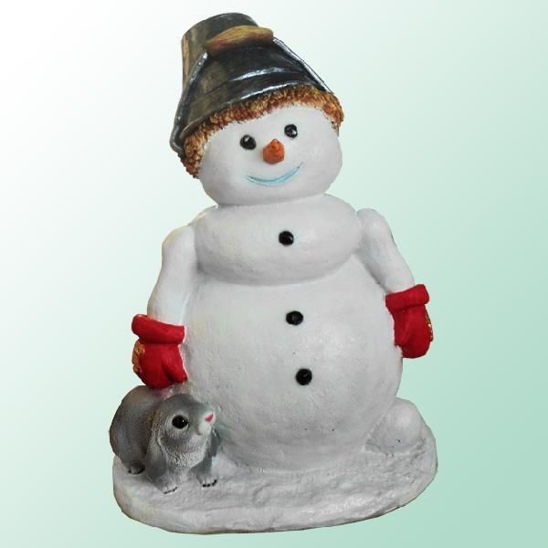 Садовая фигурка Снеговик с ведерком