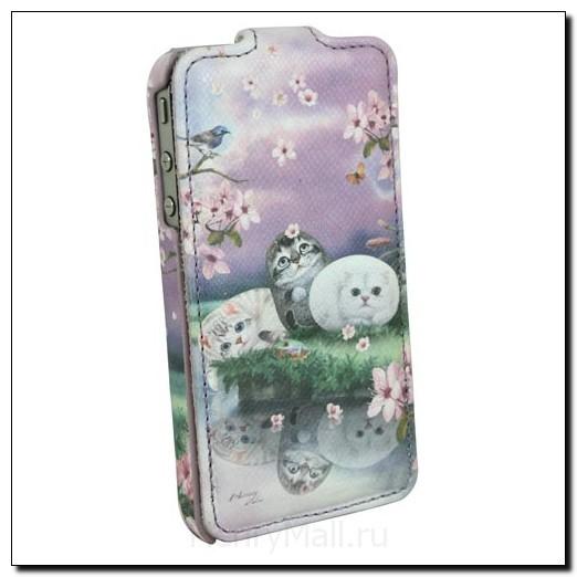 Чехол для iPhone4 с кошками «Цветы вишни»