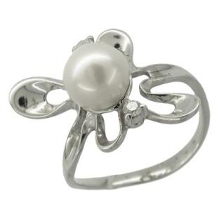 Кольцо с одной жемчужиной и 2-мя бриллиантами