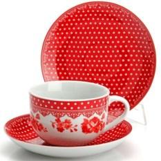 Красный чайный набор из 12 предметов Lorain