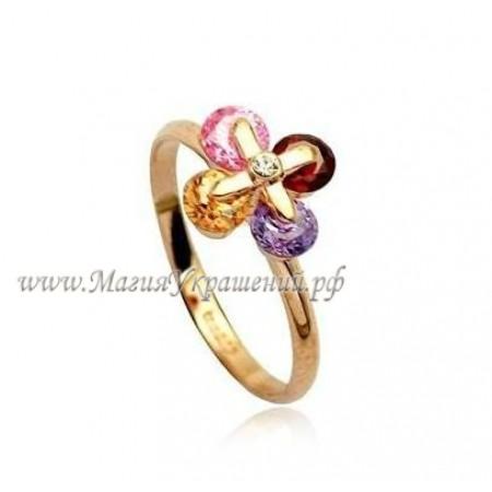 Кольцо Многоцветные фианиты