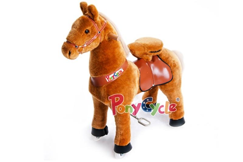 Детская механическая каталка Светло-коричневая лошадка