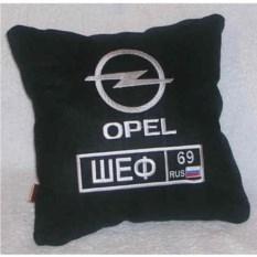 Черная подушка Opel с вышивкой номера