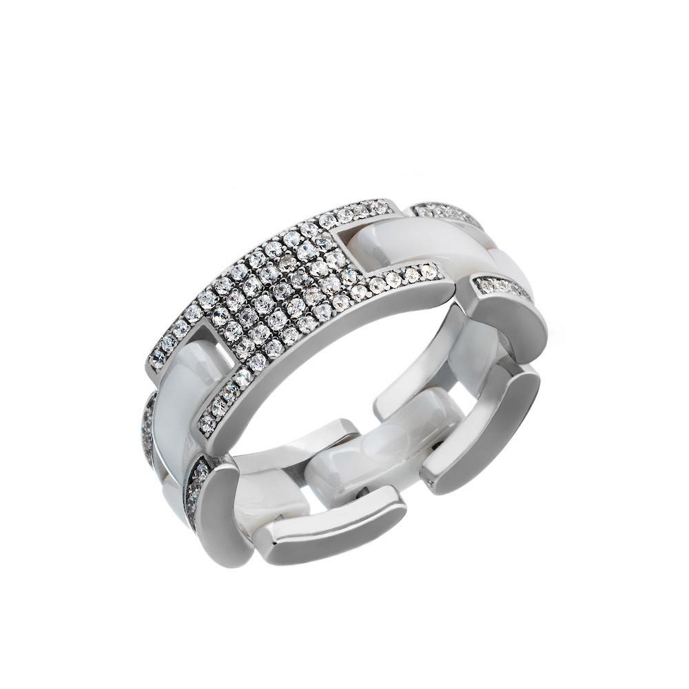 Серебряное кольцо с керамическими вставками