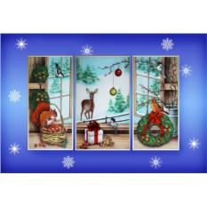 Картина-триптих с кристаллами Swarovski Зимние краски