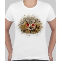 Женская футболка Сова, красные глаза
