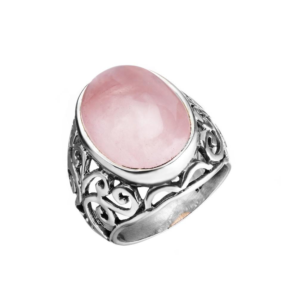 Кольцо из серебра с крупным розовым кварцем
