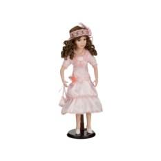 Фарфоровая кукла в розовом платье, высота 45 см